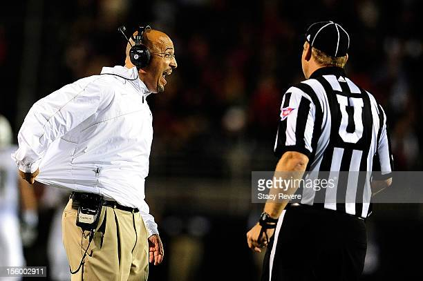 James Franklin head coach of the Vanderbilt Commodores argues an officials call during a game against the Ole Miss Rebels at VaughtHemingway Stadium...