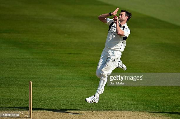 James Franklin of Middlesex bowls during day one of the preseason friendly between Surrey and Middlesex at The Kia Oval on March 22 2016 in London...