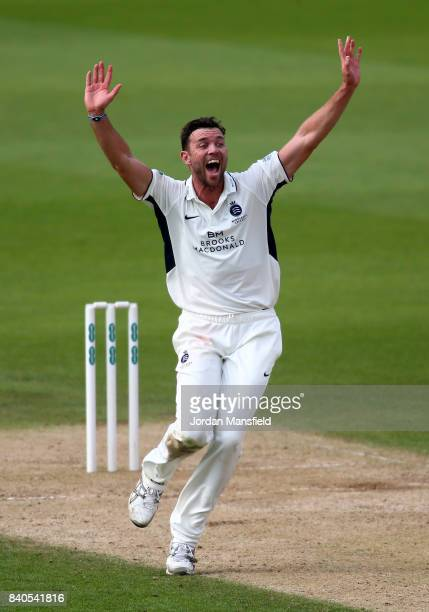 James Franklin of Middlesex celebrates dismissing Ben Foakes of Surrey during day two of the Specsavers County Championship Division One match...