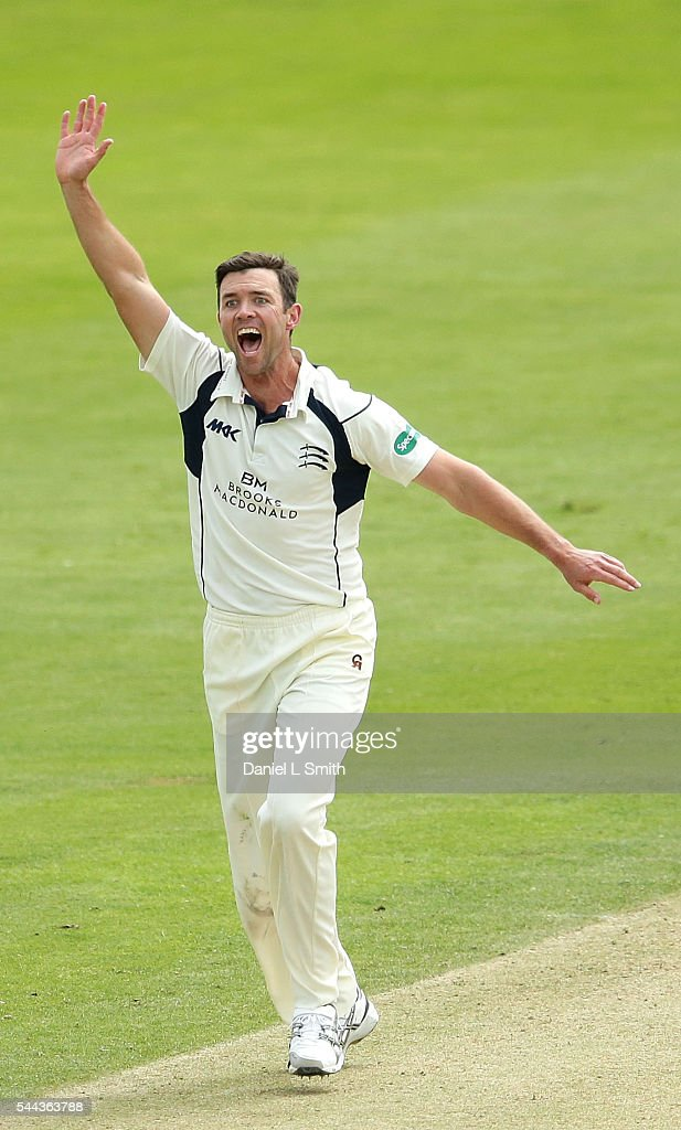 James Franklin (C) of Middlesex celebrates the dismissal of Kane Williamson of Yorkshire during day one of the Specsavers County Championship division one match between Yorkshire and Middlesex at North Marine Road on July 3, 2016 in Scarborough, England.