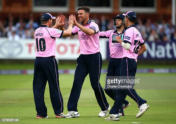 James Franklin of Middlesex celebrates with team mate George Bailey after takes the catch of Surrey's Jason Roy during the NatWest T20 Blast match...