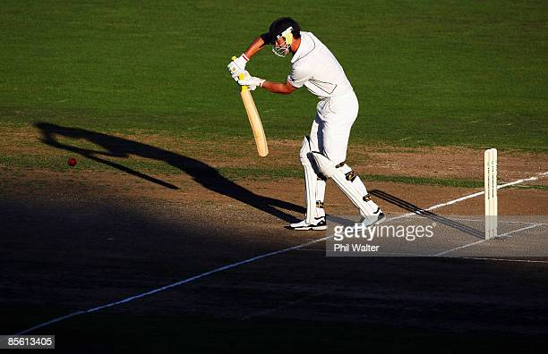James Franklin of New Zealand bats during day one of the second test match between New Zealand and India at McLean Park on March 26, 2009 in Napier,...