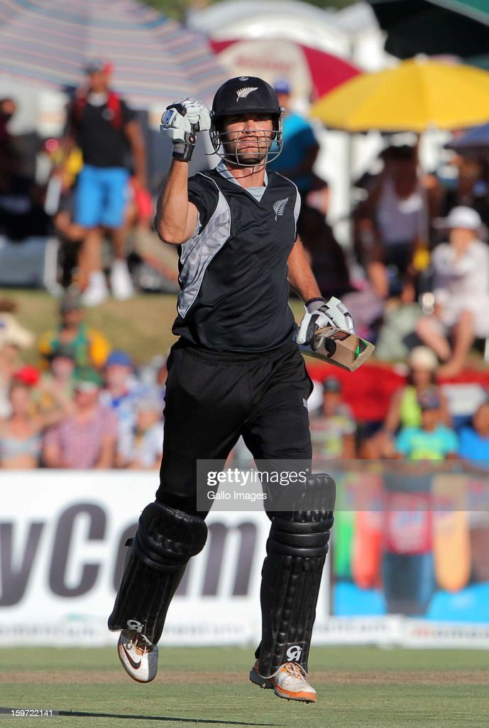 James Franklin of New Zealand celebrates hitting the winning runs during the 1st One Day International match between South Africa and New Zealand at Boland Park on January 19, 2013 in Paarl, South Africa.