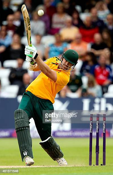 James Franklin of Nottinghamshire hits out during the Natwest T20 Blast match between Nottinghamshire Outlaws and Yorkshire Vikings at Trent Bridge...