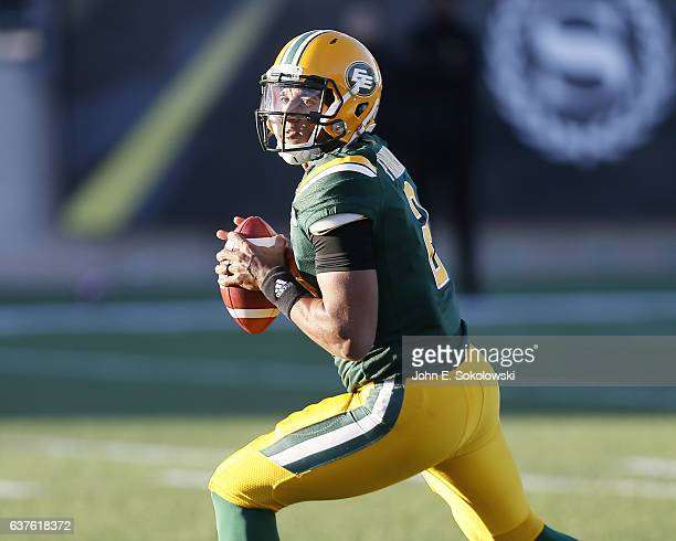 James Franklin of the Edmonton Eskimos looks to throw a pass against the Hamilton TigerCats Edmonton Eskimos defeat the Hamilton TigerCats 2421 in...