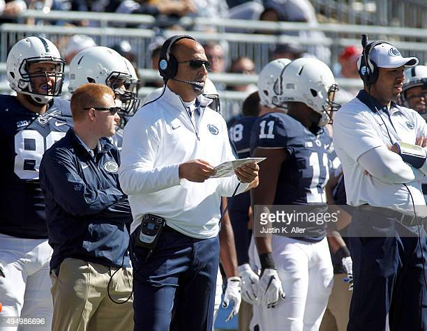 James Franklin of the Penn State Nittany Lions in action during the game against the Indiana Hoosiers on October 10, 2015 at Beaver Stadium in State...