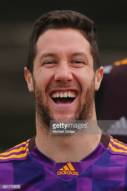 James Frawley of the Hawks reacts during a Hawthorn Hawks AFL training session at Waverley Park on May 17 2016 in Melbourne Australia