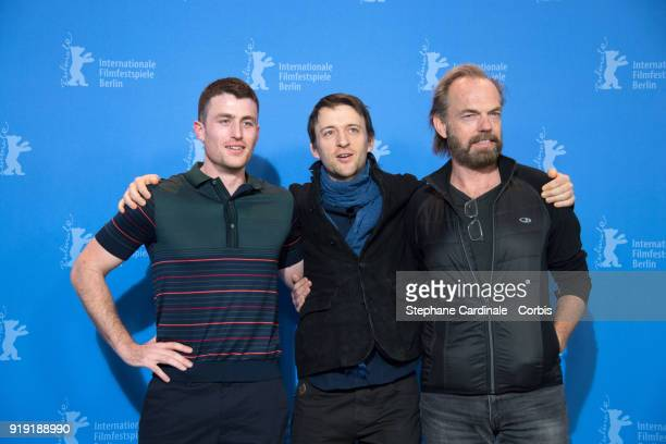 James Frecheville Lance Daly and Hugo Weaving poses at the 'Black 47' photo call during the 68th Berlinale International Film Festival Berlin at...