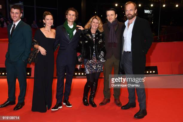 James Frecheville Lance Daly and Hugo Weaving with guests attend the 'Black 47' premiere during the 68th Berlinale International Film Festival Berlin...