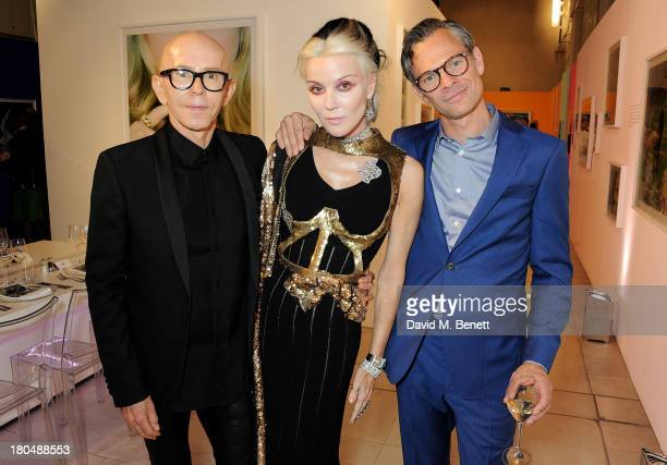 James Gager Daphne Guinness and Miles Aldridge attend the exclusive MAC dinner hosted by James Gager Senior Vice President Group Creative Director...
