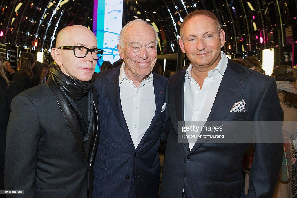 James Gager, Senior Vice President, Group Creative Director, MAC Cosmetics, Leonard Lauder, chairman emeritus of The Estee Lauder Companies Inc., and John Demsey, Group President at Estee Lauder Companies Inc., attend the MAC Cosmetics Champs Elysees Opening Party on March 21, 2013 in Paris, France.