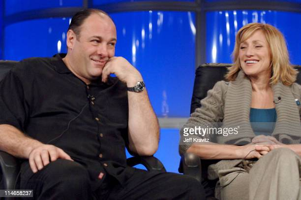 James Gandolfini and Edie Falco during 2006 TCA HBO Networks Presentation at Ritz Carlton Hotel Pavilion Room in Pasadena California United States