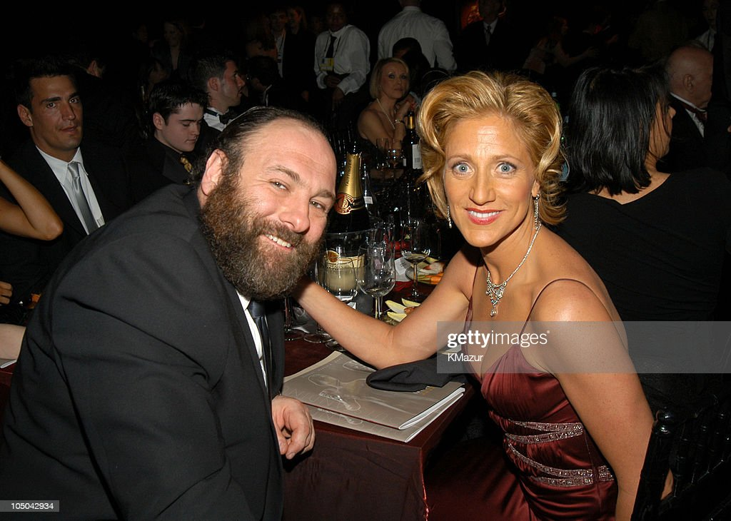 James Gandolfini and Edie Falco during Ninth Annual Screen Actors Guild Awards - Backstage and Audience at The Shrine Auditorium in Los Angeles, California, United States.