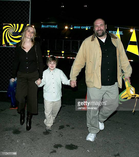 James Gandolfini and family during New York Premiere of Cirque Du Soleil's ''Corteo'' at Randall's Island in New York City New York United States