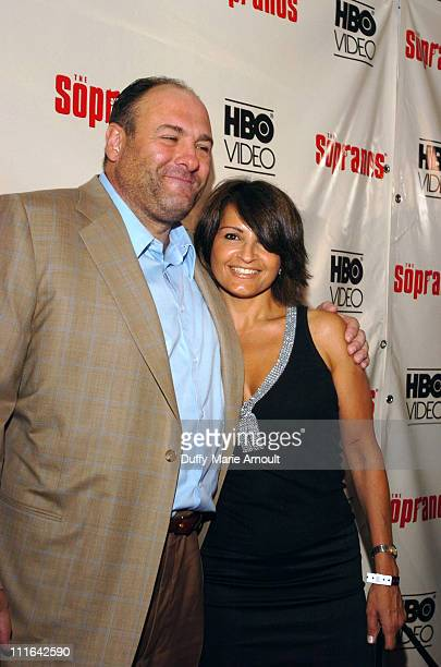 James Gandolfini and Kathrine Narducci during The Sopranos The Complete 5th Season DVD Release Party Hosted by HBO Video at English is Italian in New...