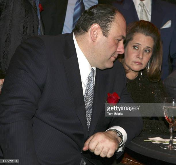 James Gandolfini and Lorraine Bracco during The Sopranos Cast Press Conference and Photocall at Atlantic City Hilton March 25 2006 at Atlantic City...
