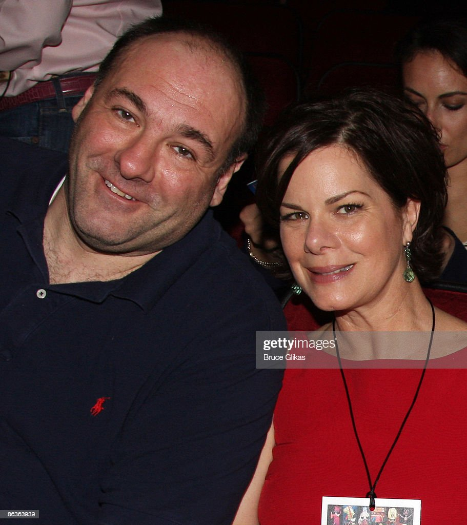 James Gandolfini and Marcia Gay Harden who served as judges pose at The 2009 Broadway Cares Equity Fights AIDS Easter Bonnet Competition on Broadway at The Minskoff Theater on May 3, 2009 in New York City.
