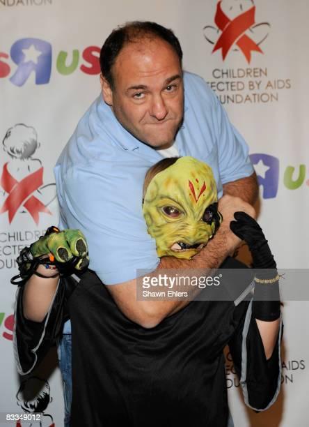 James Gandolfini and Michael Gandolfini attend the Children Affected by AIDS Foundation Dream Halloween at Roseland Ballroom on October 19 2008 in...