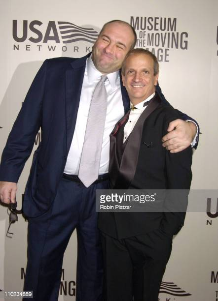 James Gandolfini and Ron Palillo during American Museum of The Moving Image Salute to John Travolta Arrivals at The Waldorf Astoria Hotel in New York...