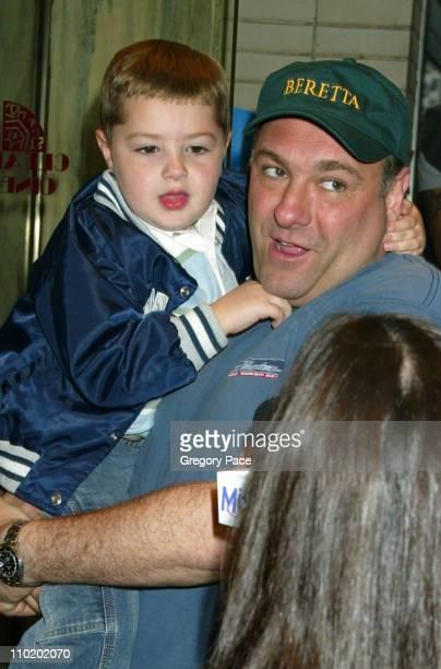 James Gandolfini and son Michael during Shrek 2 New York Premiere at Beekman Theater in New York City New York United States
