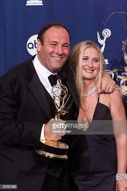 James Gandolfini and wife Marcy with his award for Outstanding Lead Actor in a Drama Series for 'The Sopranos' at the 52nd Annual Primetime Emmy...