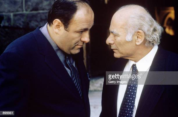 James Gandolfini as Tony Soprano and Burt Young as Bobby Bacala Baccalieri Sr act in a scene in HBO's hit television series The Sopranos