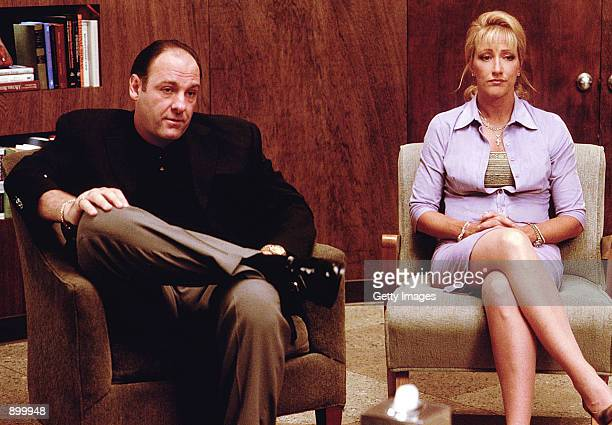 James Gandolfini as Tony Soprano and Edie Falco as Carmela Soprano seek counseling in HBO's hit television series The Sopranos
