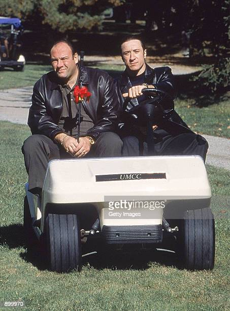 James Gandolfini as Tony Soprano and Federico Castelluccio as Furio Giunta act in a scene in HBO's hit television series The Sopranos