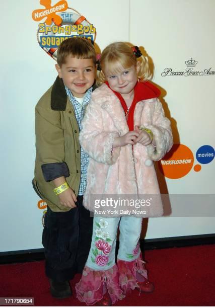 James Gandolfini children son Michael and daughter Liliana at the Special Screening of SpongeBob held at the Loews Cineplex Theather