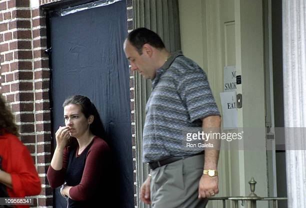 James Gandolfini during James Gandolfini on Location for 'The Sopranos' August 1 2000 in Belleville New Jersey United States