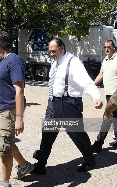 James Gandolfini during 'The Sopranos' On Location in New York City August 21 2006 at St Rita's Church in New York City Queens United States