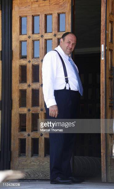 James Gandolfini during The Sopranos On Location in New York City August 21 2006 at St Rita's Church in New York City Queens United States