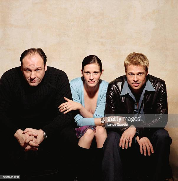 James Gandolfini Julia Roberts and Brad Pitt Seated