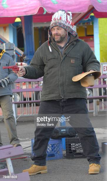 James Gandolfini on Location for 'Kiddie Ride' Keansburg Amusement Park on January 31 2008 in Keansburg New Jersey