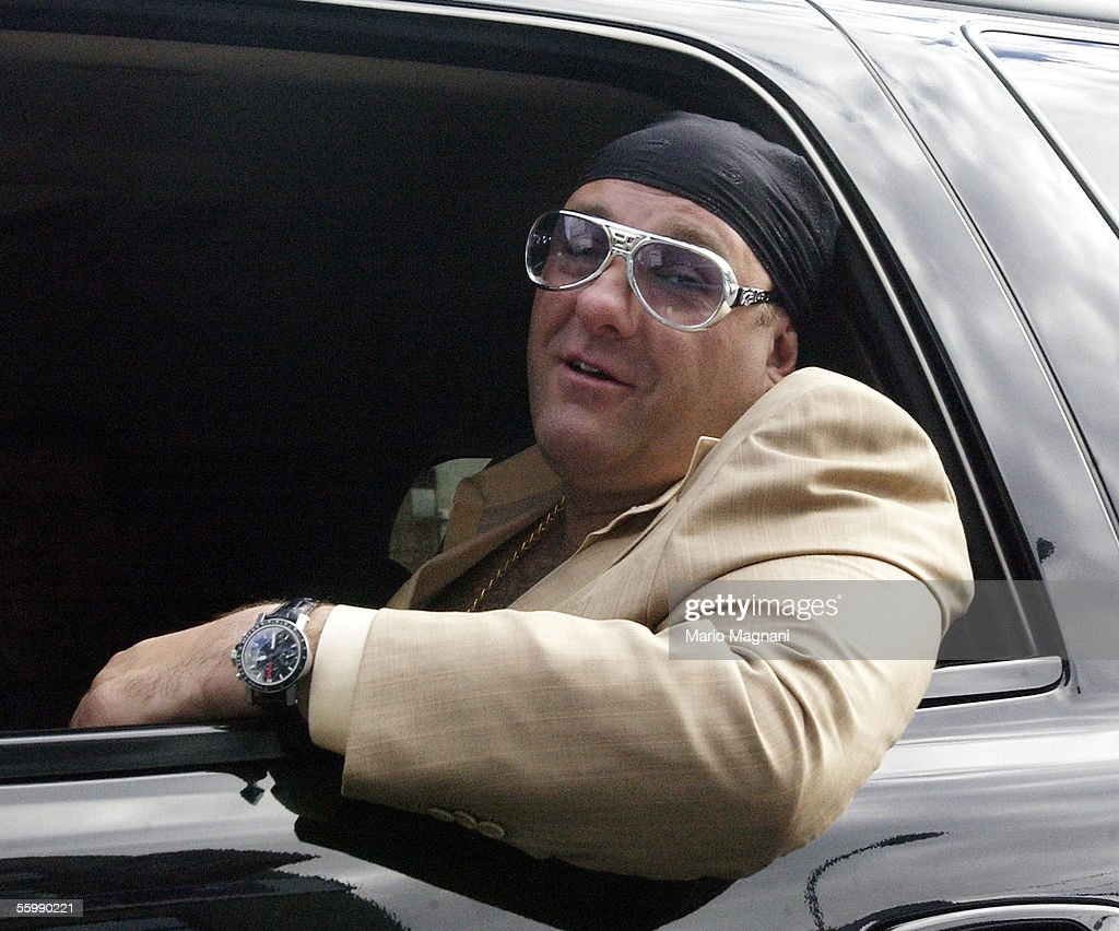 James Gandolfini smiles out the window of an SUV on October 23, 2205 in New York City.