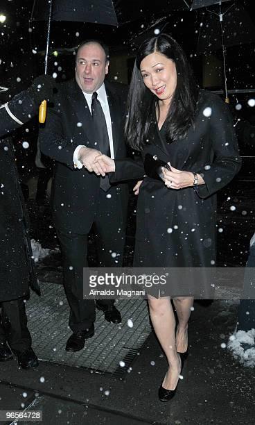 James Gandolfini with his wife Deborah Lin arrives for the amfAR New York Gala at Cipriani 42nd Street on February 10 2010 in New York City
