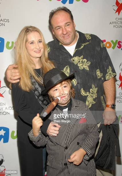 James Gandolfini with Marcy Gandolfini and son Michael at Children Affected by AIDS Foundation's Dream Halloween at Roseland in New York City on...