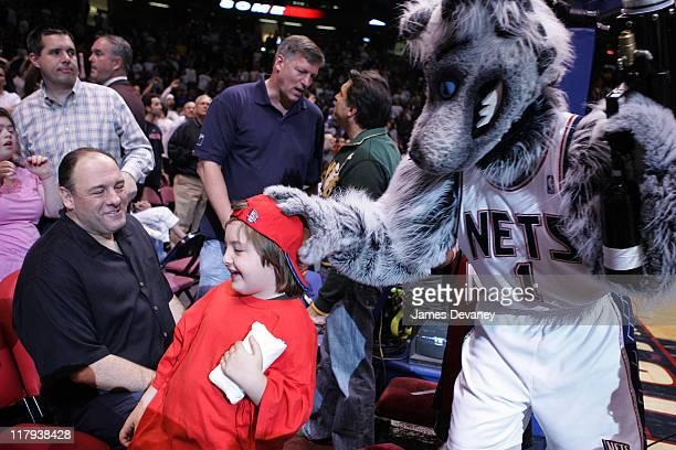 James Gandolfini with son Michael and NJ Nets mascot Sly