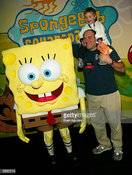 James Gandolfini with son Michael and Sponge Bob Square Pants at the Dream Halloween event to benefit Children Affected by AIDS Foundation at Pier 59...