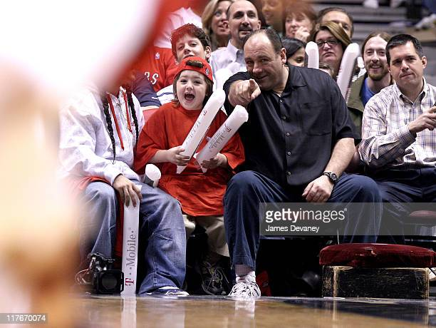 James Gandolfini with son Michael during Celebrities Attend Toronto Raptors vs. New Jersey Nets Game - May 4, 2007 at Continental Arena in East...