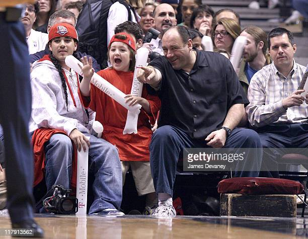 James Gandolfini with son Michael during Celebrities Attend Toronto Raptors vs New Jersey Nets Game May 4 2007 at Continental Arena in East...
