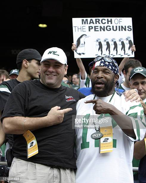 James Gandolfino and Mr T at the New York Jets 31 to 28 loss to the Indianapolis Colts at Giants Stadium in East Rutherford New Jersey on September...