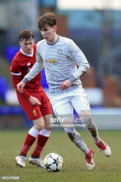 James Garner of Man Utd in action during the UEFA Youth League Round of 16 match between Liverpool and Manchester United at Prenton Park on February...