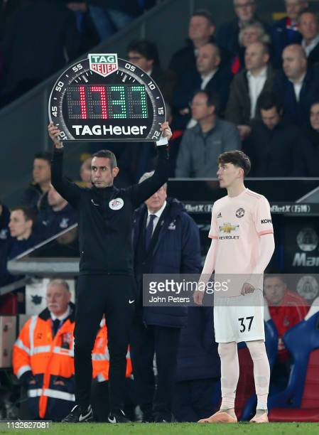 James Garner of Manchester United comes on as a substitute during the Premier League match between Crystal Palace and Manchester United at Selhurst...