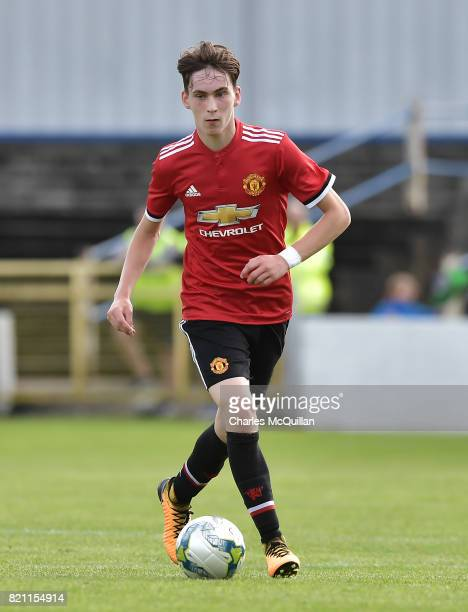 James Garner of Manchester United during the NI Super Cup game between Manchester United u18s and Northern Ireland u18s at the Showgrounds on July 22...