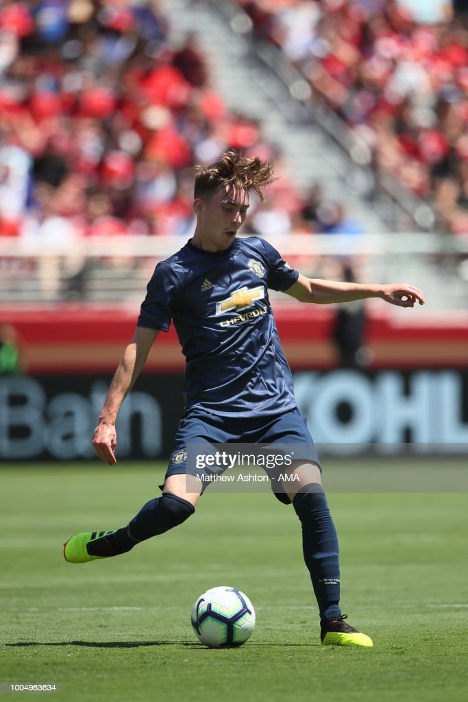 James Garner of Manchester United during the Pre-Season match between Manchester United v San Jose Earthquakes at Levi's Stadium on July 22, 2018 in Santa Clara, California.