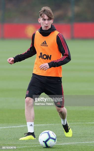 James Garner of Manchester United in action during a first team training session at Aon Training Complex on July 13 2018 in Manchester England