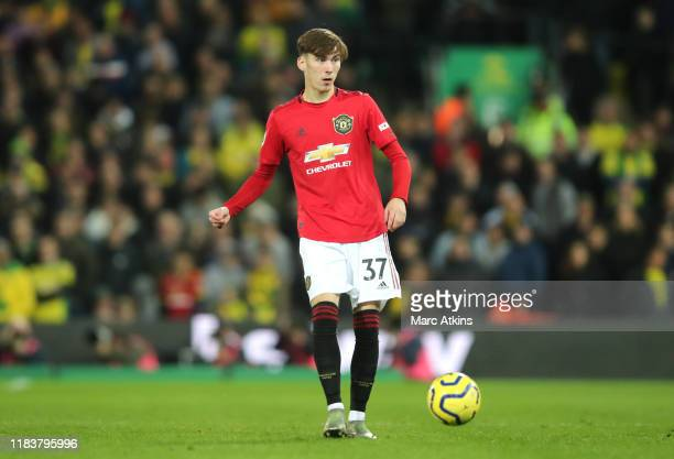 James Garner of Manchester United in action during the Premier League match between Norwich City and Manchester United at Carrow Road on October 27,...