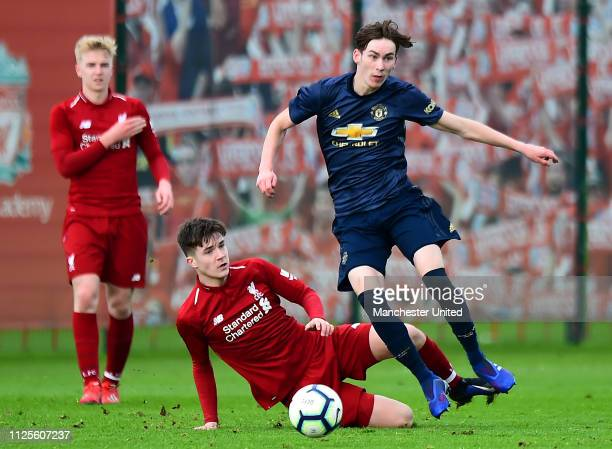 James Garner of Manchester United U18s in action during the U18 Premier League Cup Quarter Final at Kirkby Training Ground January 26 2019 in Kirkby...