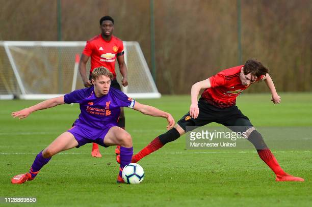 James Garner of Manchester United U18s in action during the U18 Premier League North match between Manchester United U18s and Liverpool U18s at Aon...